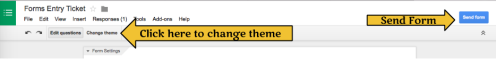 Change Theme Click Send form