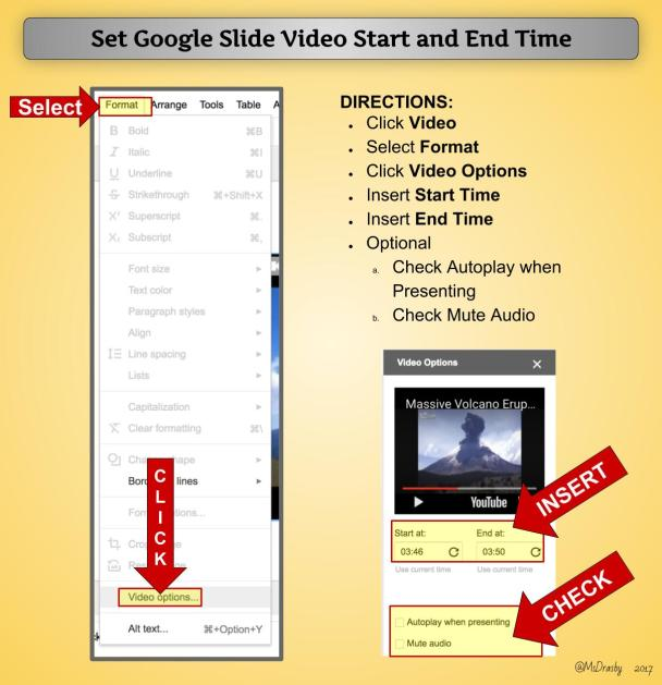 how to set start and end times on youtube